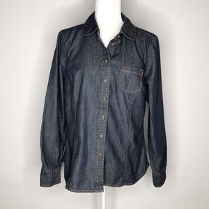 Boden denim long sleeve shirt dark wash size 12